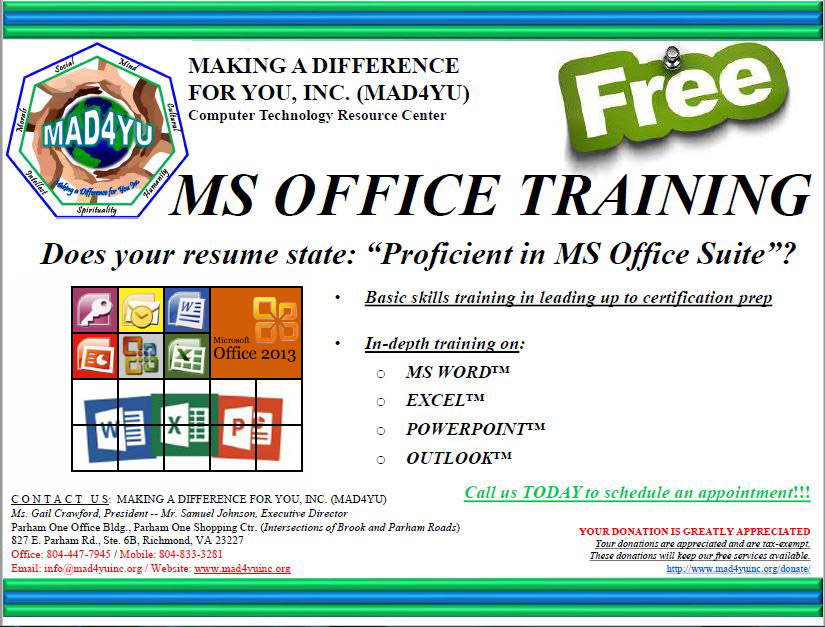 Microsoft Office Training Making A Difference For You Inc