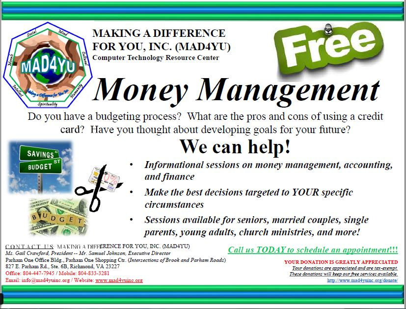 Programs – Making A Difference For You, Inc